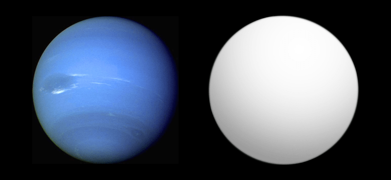 Сравнение Глизе 436 b (справа) с Нептуном Автор: Aldaron, a.k.a. Aldaron [CC BY-SA 3.0 (https://creativecommons.org/licenses/by-sa/3.0)]
