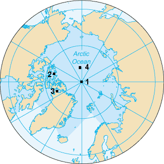 Карта Северного полюса. На ней изображены Северный полюс (1), Северный магнитный полюс (2), Северный геомагнитный полюс (3), Северный полюс недоступности (84°03' с.ш, 174° 51' з.ш) (4).