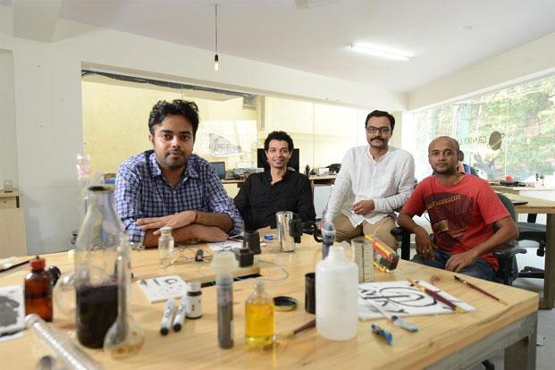 Anirudh Sharma (from left), co-founder Nitesh Kadyan, Nikhil Kaushik, and prototyping lead Nisheeth Singh (far right) of Graviky Labs. Photo: Hemant Mishra/Mint