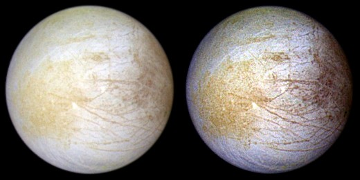 Близкий к натуральному цвет поверхности (слева) и искусственно усиленный цвет (справа). Фото АМС «Галилео»