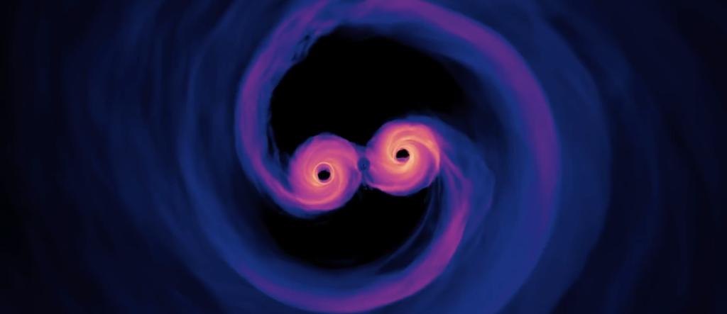 Столкновение двух черных дыр до 1 парсека