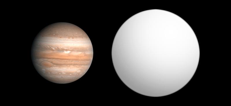 Сравнительные размеры планеты HAT-P-7 b (серый) и Юпитера. Автор: Aldaron, a.k.a. Aldaron [CC BY-SA 3.0 (https://creativecommons.org/licenses/by-sa/3.0)]