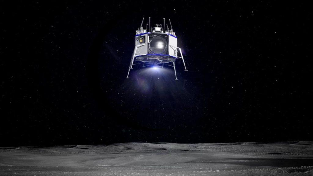 """дка лунного модуля """"Blue Moon"""" в кратер Шеклтон на Луне Автор: Brittany A. Roston - May 9, 2019"""