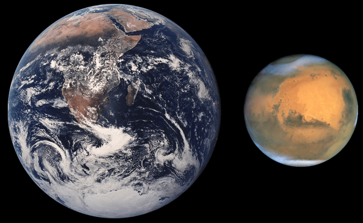 Планета Земля (средний радиус 6371,11 км) и Марс (средний радиус 3389,5 км[3]). Автор: RHorning and later modified by Scooter20 [Public domain]