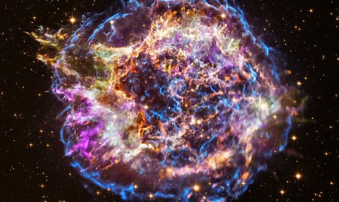 Взрыв сверхновой звезды в космосе.