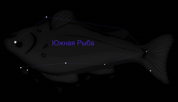 Созвездие Южная Рыба, наблюдаемое из центральных и южных районов России